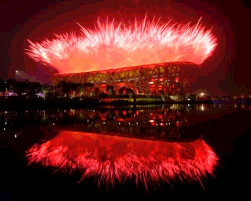 BEIJING - AUGUST 08:  Fireworks explode over the National Stadiu